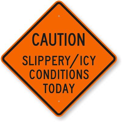 caution slippery icy conditions